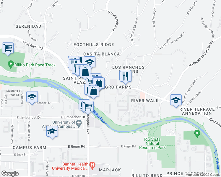 map of restaurants, bars, coffee shops, grocery stores, and more near 2000 East River Road in Tucson