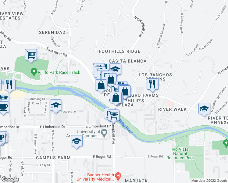 map of restaurants, bars, coffee shops, grocery stores, and more near East River Road & North Campbell Avenue in Tucson