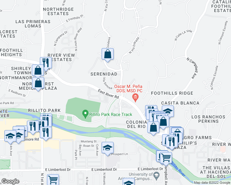 map of restaurants, bars, coffee shops, grocery stores, and more near in Catalina Foothills
