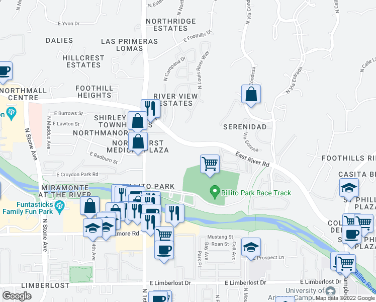 map of restaurants, bars, coffee shops, grocery stores, and more near 900 East River Road in Tucson