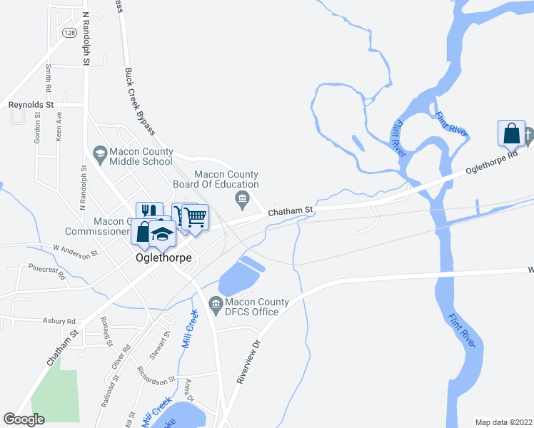 map of restaurants, bars, coffee shops, grocery stores, and more near Buck Creek Bypass in Oglethorpe