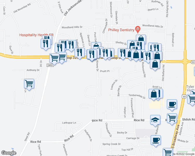 map of restaurants, bars, coffee shops, grocery stores, and more near 4410 Kinsey Drive in Tyler