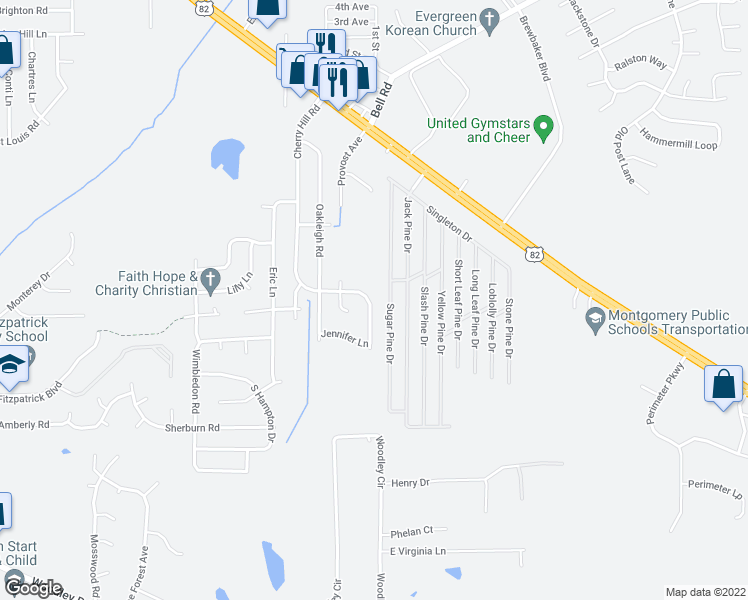 map of restaurants, bars, coffee shops, grocery stores, and more near 6129 Cherry Hill Road in Montgomery