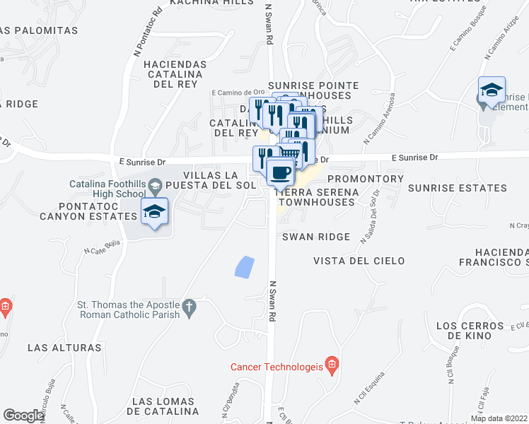 map of restaurants, bars, coffee shops, grocery stores, and more near 5441 North Swan Road in Tucson