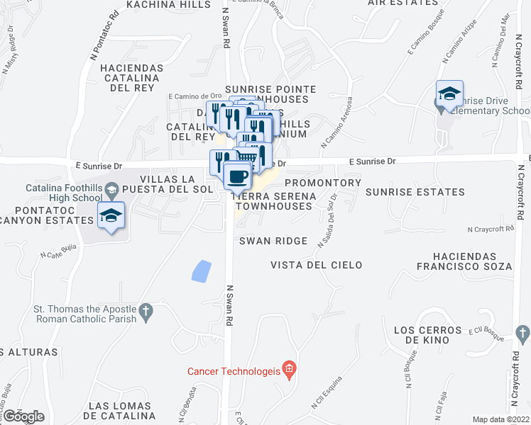 map of restaurants, bars, coffee shops, grocery stores, and more near 5466 North Arroyo Vista Drive in Tucson