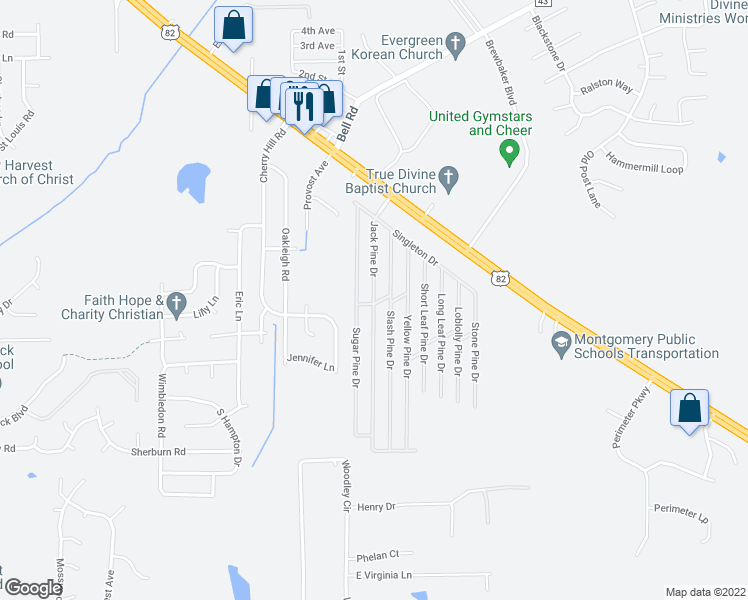 map of restaurants, bars, coffee shops, grocery stores, and more near 5131 Jack Pine Drive in Montgomery