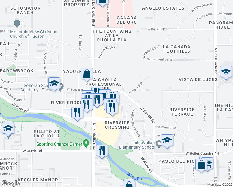 map of restaurants, bars, coffee shops, grocery stores, and more near 5589 North Little River Lane in Tucson