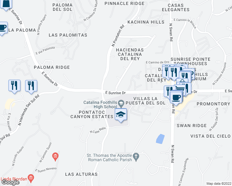 map of restaurants, bars, coffee shops, grocery stores, and more near E Sunrise Dr & N Camino Del Conde in Catalina Foothills