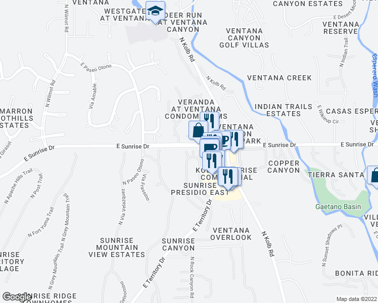 map of restaurants, bars, coffee shops, grocery stores, and more near 5566 North Largo Papavero in Tucson