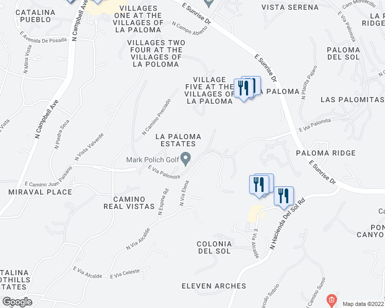 map of restaurants, bars, coffee shops, grocery stores, and more near 3413 East Vía Palomita in Tucson