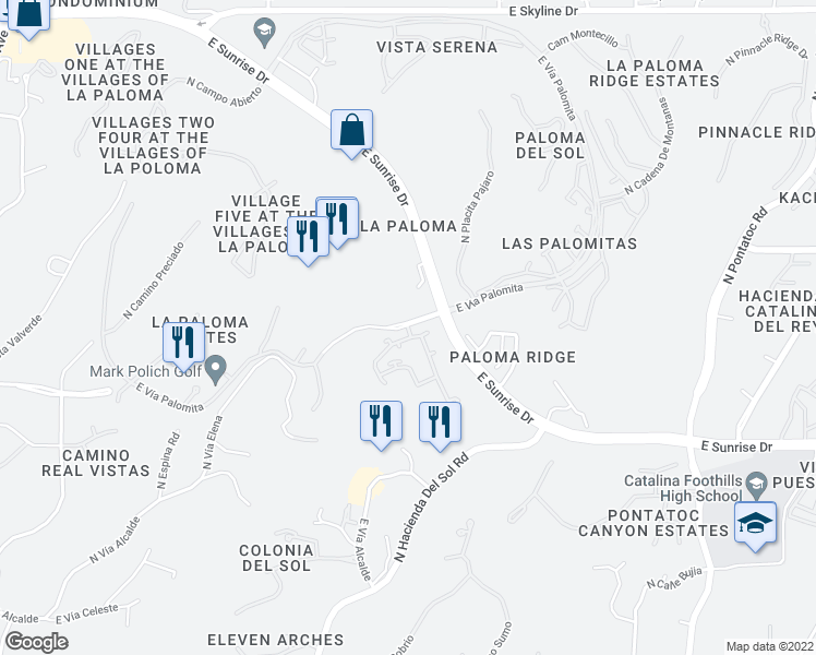 map of restaurants, bars, coffee shops, grocery stores, and more near 3750 East Vía Palomita in Tucson