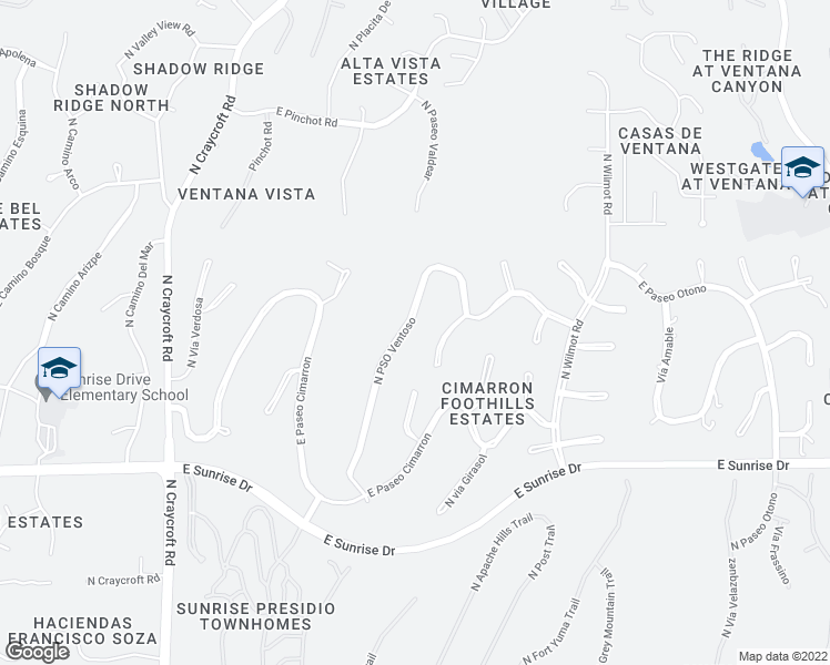 map of restaurants, bars, coffee shops, grocery stores, and more near 5846 North PSO Ventoso in Tucson