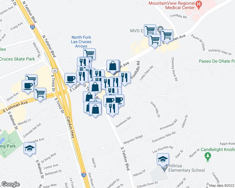 map of restaurants, bars, coffee shops, grocery stores, and more near Nacho Drive in Las Cruces