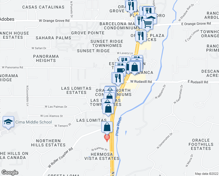 map of restaurants, bars, coffee shops, grocery stores, and more near 5921 North Oracle Road in Tucson