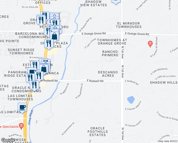 map of restaurants, bars, coffee shops, grocery stores, and more near 303 East Rudasill Road in Tucson