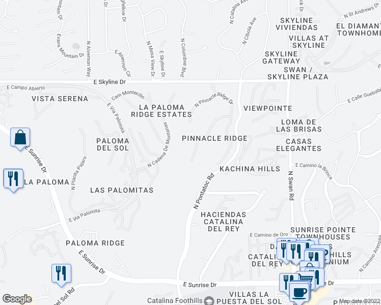 map of restaurants, bars, coffee shops, grocery stores, and more near 4327 East Pinnacle Ridge Place in Tucson