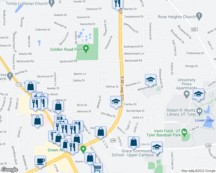 map of restaurants, bars, coffee shops, grocery stores, and more near 2524 Delmar Street in Tyler