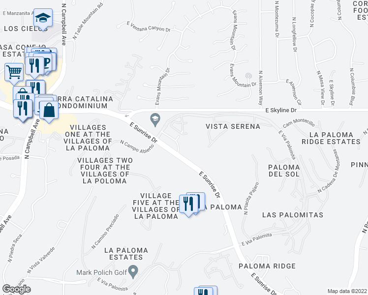 map of restaurants, bars, coffee shops, grocery stores, and more near 3567 East Sunrise Drive in Tucson