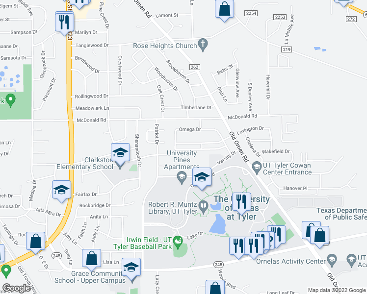 map of restaurants, bars, coffee shops, grocery stores, and more near 3225 Lexington Drive in Tyler