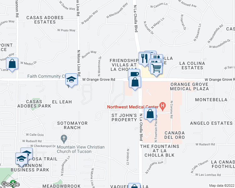 map of restaurants, bars, coffee shops, grocery stores, and more near 2255 West Orange Grove Road in Tucson