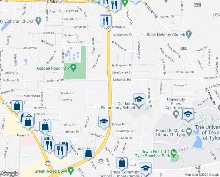 map of restaurants, bars, coffee shops, grocery stores, and more near 2505 South Southeast Loop 323 in Tyler