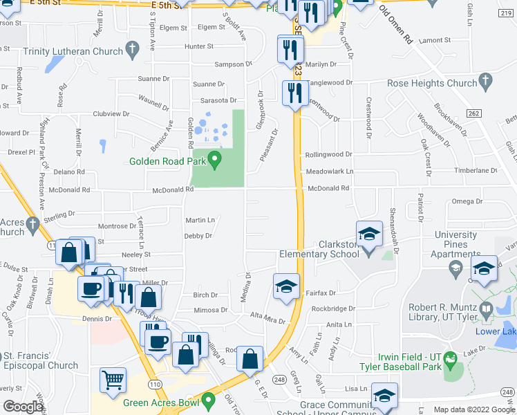map of restaurants, bars, coffee shops, grocery stores, and more near 2509 Merry Lane in Tyler