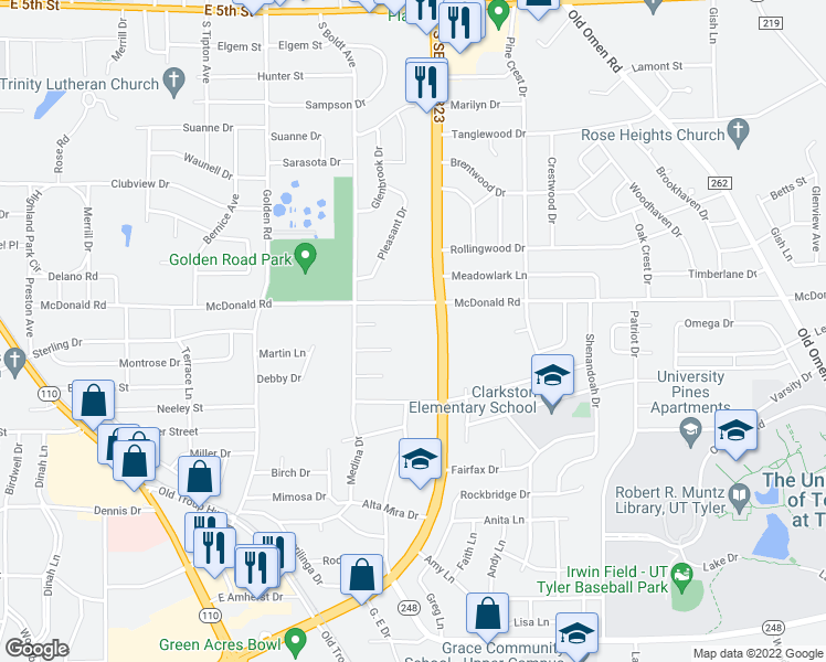 map of restaurants, bars, coffee shops, grocery stores, and more near 2601 South Southeast Loop 323 in Tyler