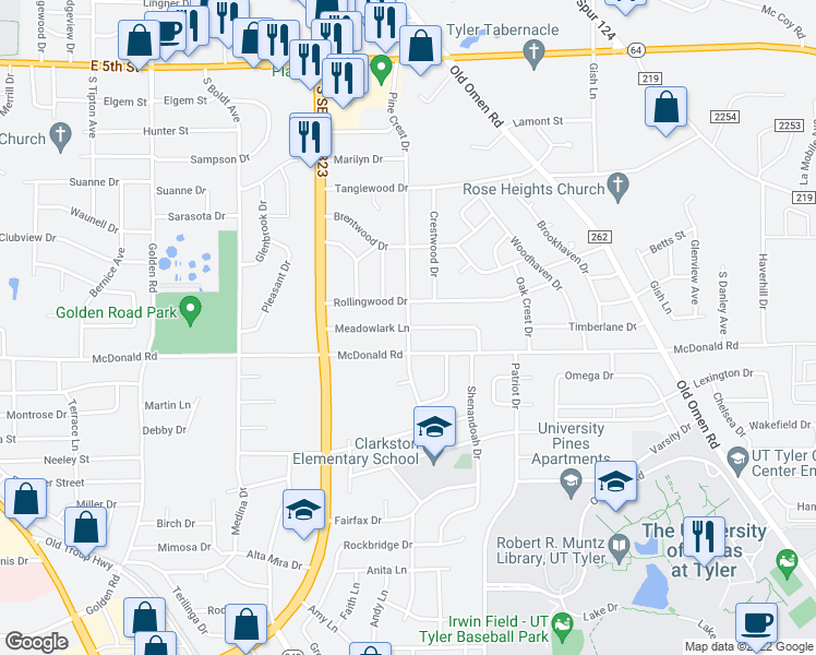 map of restaurants, bars, coffee shops, grocery stores, and more near Meadowlark Lane in Tyler