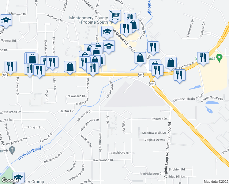map of restaurants, bars, coffee shops, grocery stores, and more near 4220 Strathmore Drive in Montgomery