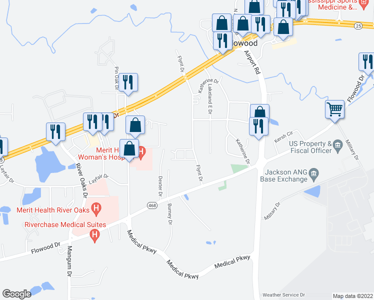 map of restaurants, bars, coffee shops, grocery stores, and more near 1045 Flynt Drive in Flowood