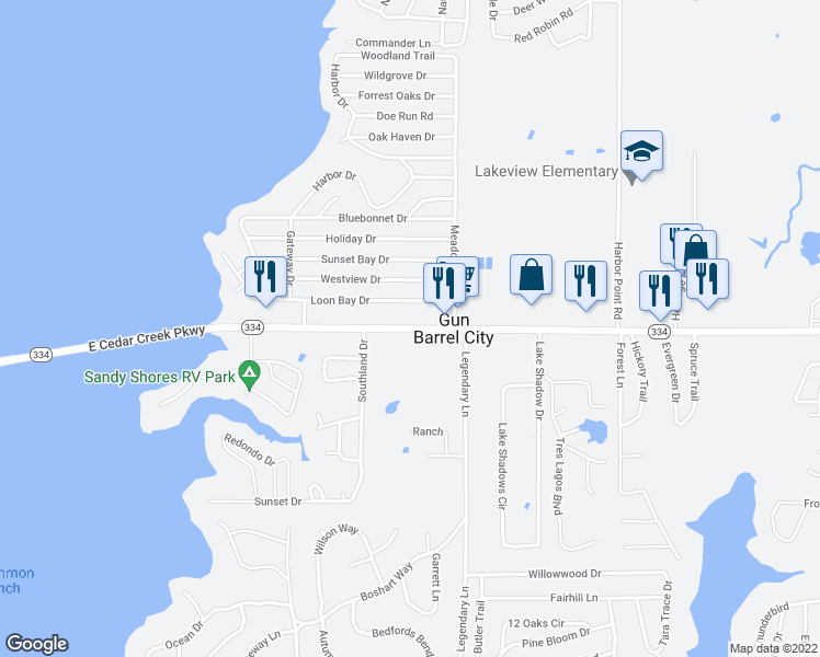 map of restaurants, bars, coffee shops, grocery stores, and more near 2514 West Main Street in Gun Barrel City