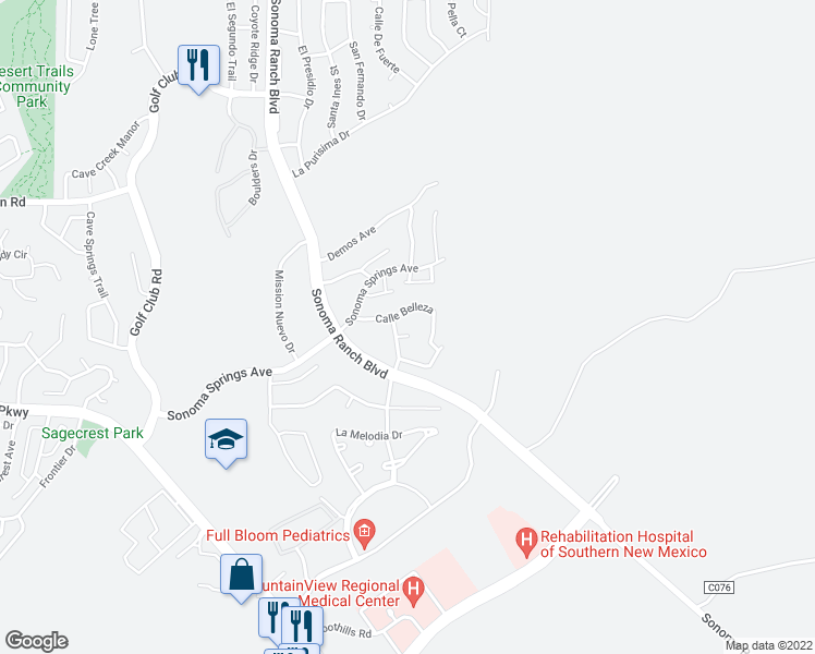 map of restaurants, bars, coffee shops, grocery stores, and more near 4209 Camino Lindo Court in Las Cruces