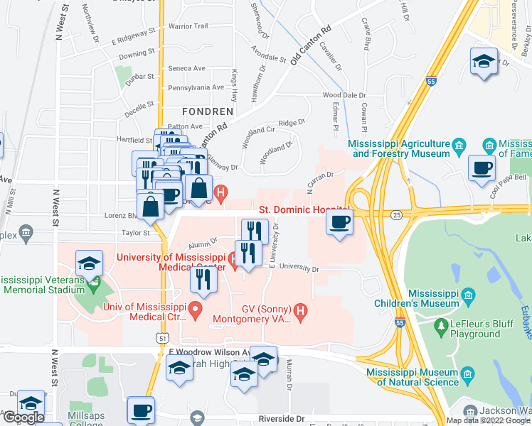 map of restaurants, bars, coffee shops, grocery stores, and more near 848-858 Lakeland Drive in Jackson