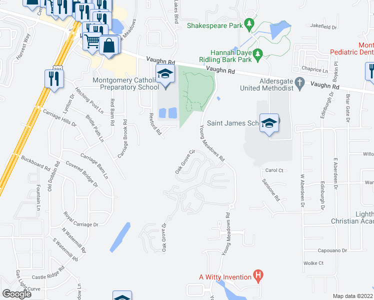 map of restaurants, bars, coffee shops, grocery stores, and more near 3512 Oak Grove Circle in Montgomery
