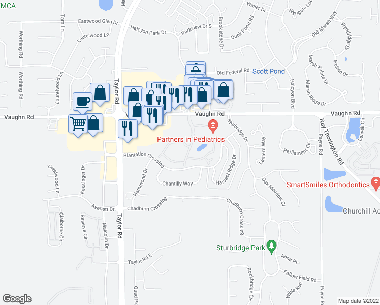 map of restaurants, bars, coffee shops, grocery stores, and more near 8700 Seaton Boulevard in Montgomery