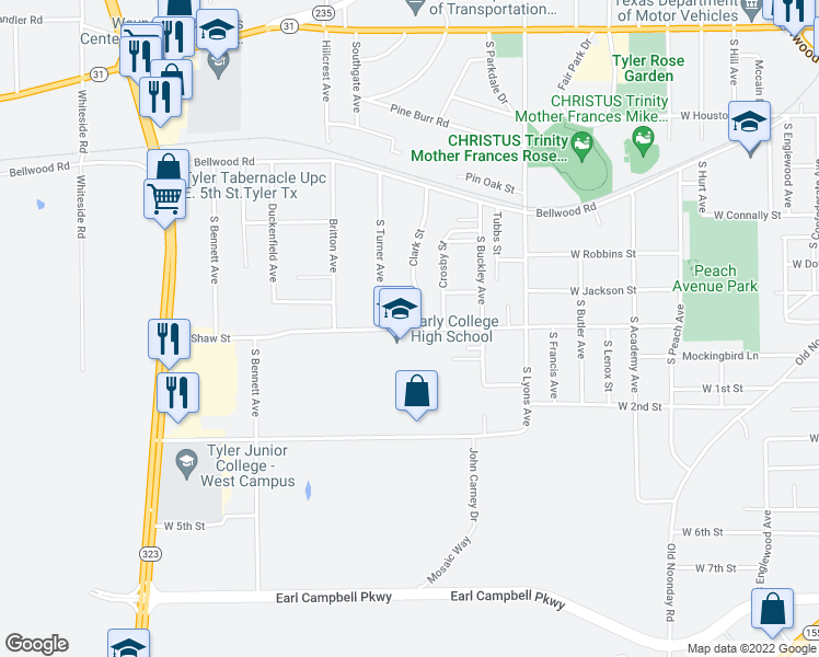 map of restaurants, bars, coffee shops, grocery stores, and more near 2715 West Shaw Street in Tyler