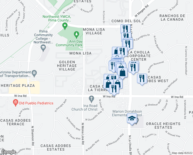 map of restaurants, bars, coffee shops, grocery stores, and more near 7300 North Mona Lisa Road in Tucson