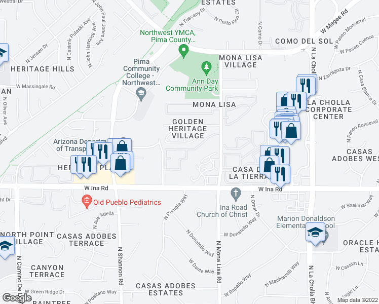 map of restaurants, bars, coffee shops, grocery stores, and more near 7425 North Mona Lisa Road in Tucson