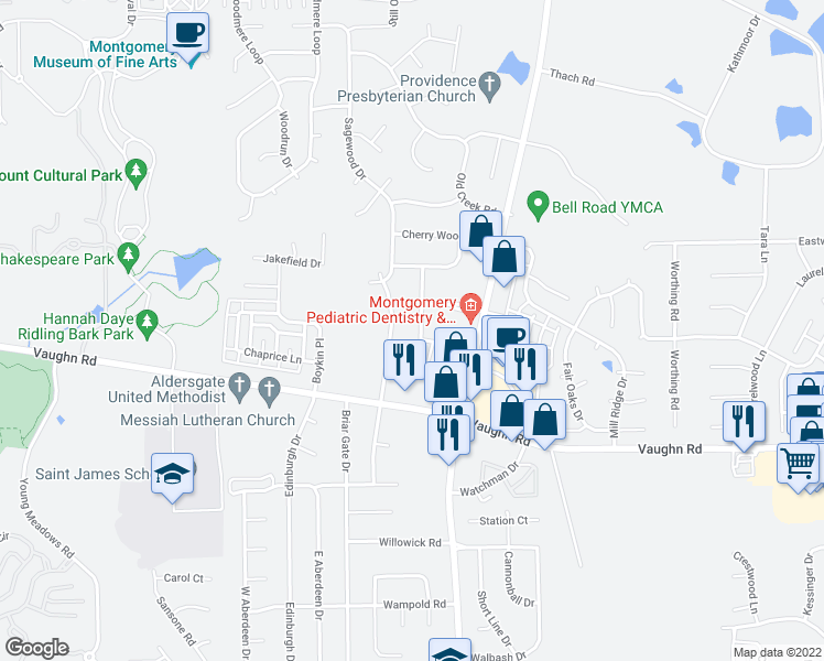 map of restaurants, bars, coffee shops, grocery stores, and more near 2632 Crossgate Trail in Montgomery