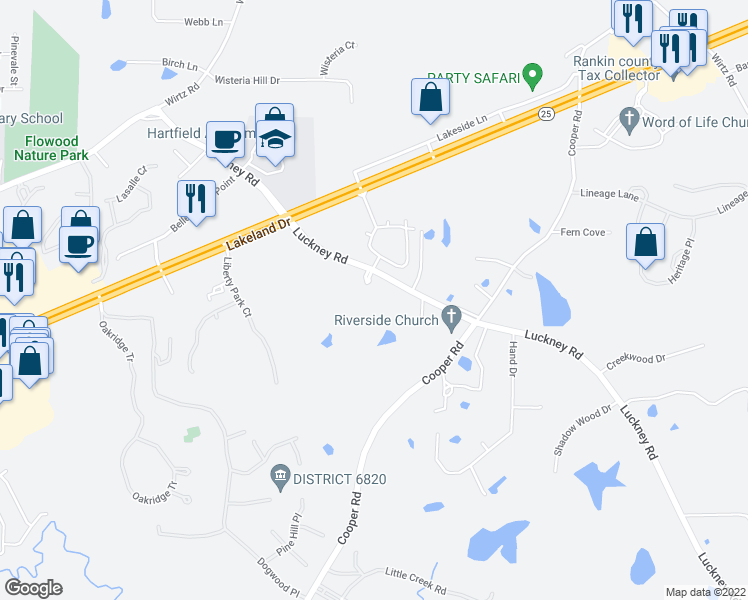 map of restaurants, bars, coffee shops, grocery stores, and more near 100 Carlton Park Drive in Flowood