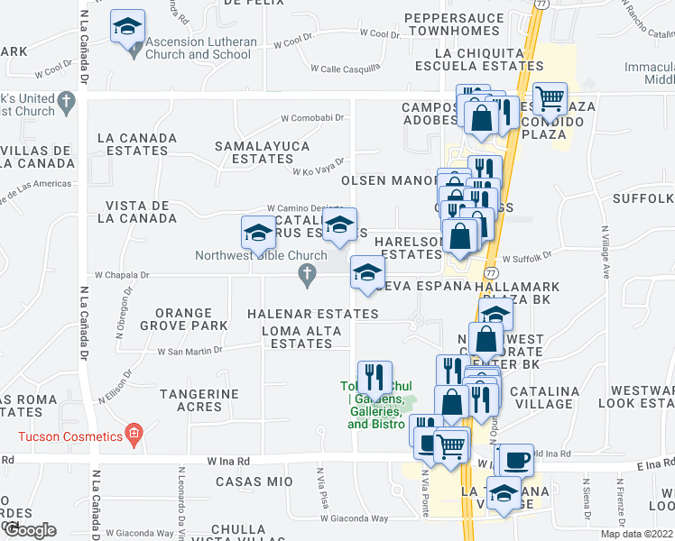 map of restaurants, bars, coffee shops, grocery stores, and more near 901-939 West Chapala Drive in Tucson