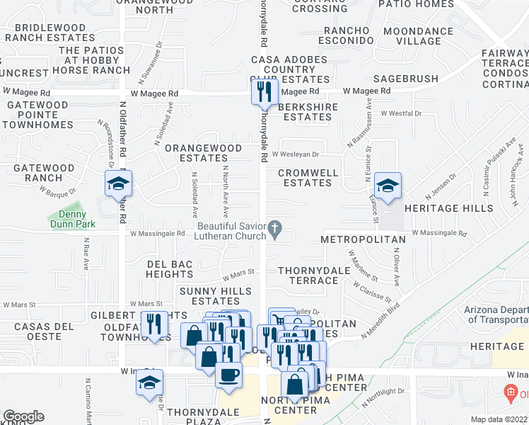 map of restaurants, bars, coffee shops, grocery stores, and more near 3761 West Enfield Place in Tucson