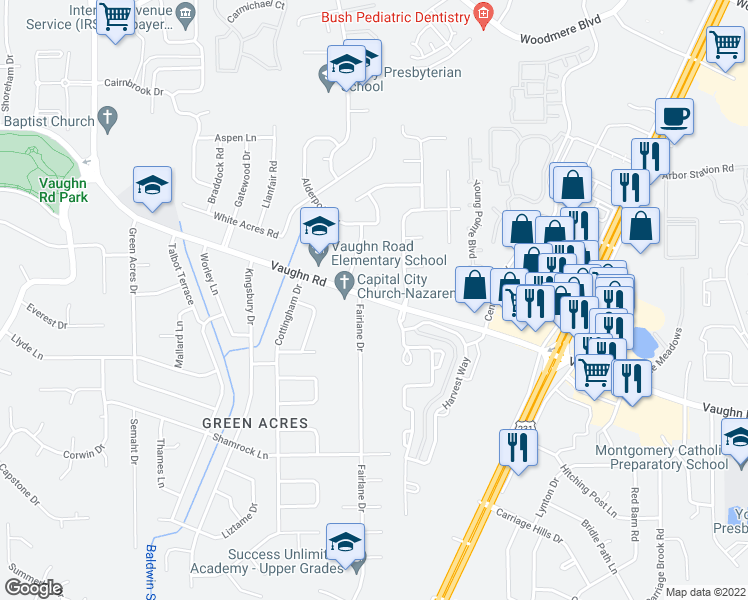 map of restaurants, bars, coffee shops, grocery stores, and more near 7 Fairlane Drive in Montgomery