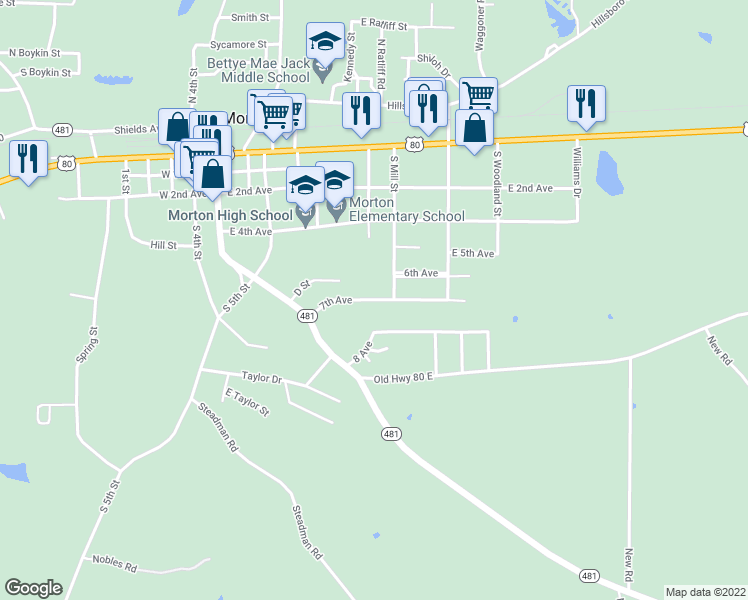 map of restaurants, bars, coffee shops, grocery stores, and more near 2-228 7th Avenue in Morton