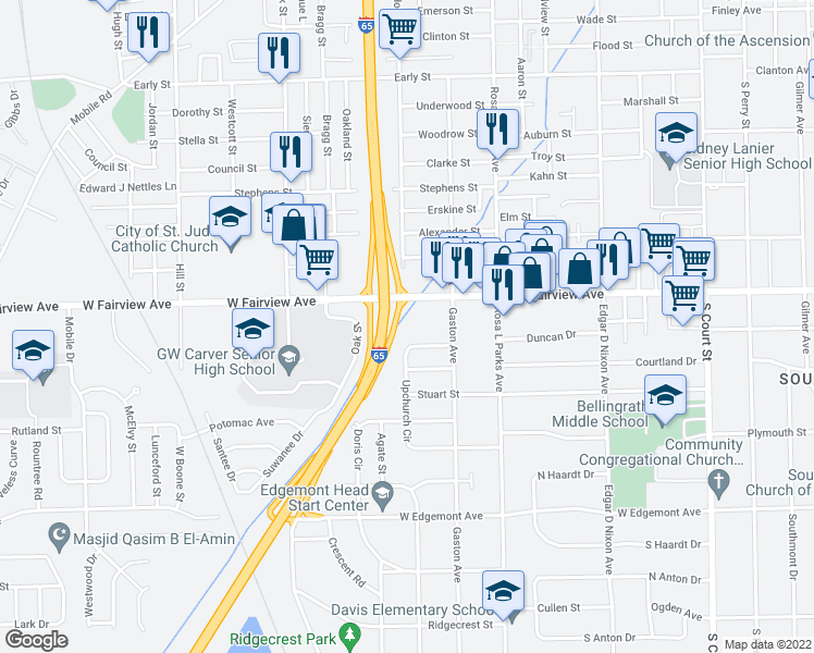 map of restaurants, bars, coffee shops, grocery stores, and more near 3050 Rosa L Parks Avenue in Montgomery