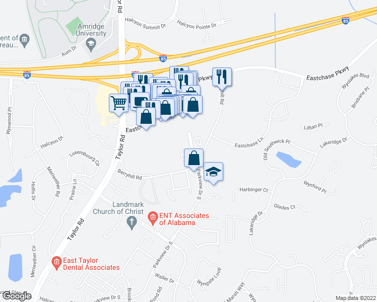 map of restaurants, bars, coffee shops, grocery stores, and more near 2101 Berryhill Road in Montgomery