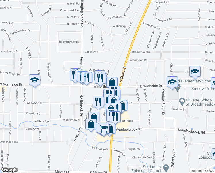 map of restaurants, bars, coffee shops, grocery stores, and more near 40 W Northside Dr in Jackson
