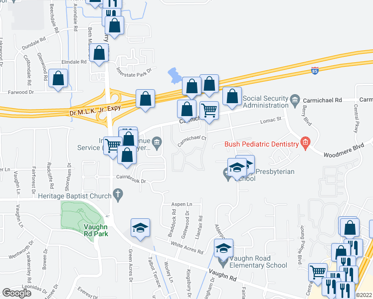 map of restaurants, bars, coffee shops, grocery stores, and more near 4132 Carmichael Road in Montgomery