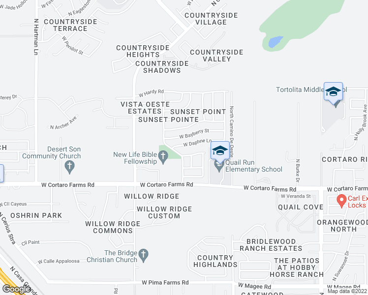 map of restaurants, bars, coffee shops, grocery stores, and more near 4796 West Daphne Lane in Tucson