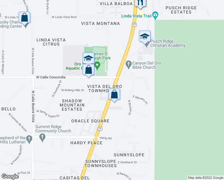 map of restaurants, bars, coffee shops, grocery stores, and more near 9062-9086 North Oracle Road in Oro Valley